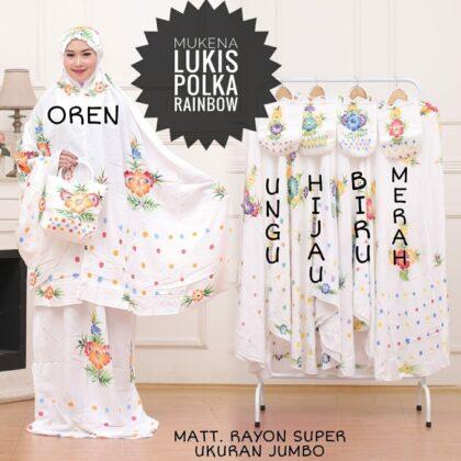 Mukena Lukis Pekalongan Polka Rainbow